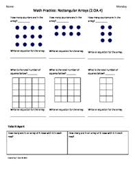 2 oa 4 rectangular array 2nd grade common core math worksheets
