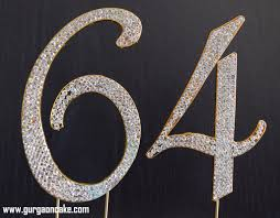 rhinestone number cake toppers 64th birthday cake toppers