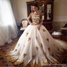 wedding gown design luxury lace sleeve gown wedding dresses gold white