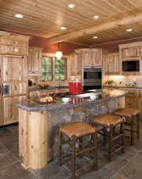 Rustic Hickory Kitchen Cabinets Honey Spice Hickory Cupboards Using Orange Paint Color With Wood