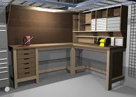 Garage Organization Design - usable l shaped garage workbench and storage designs your home