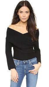 wrap sweater top lyst line dot wrap sweater top in black