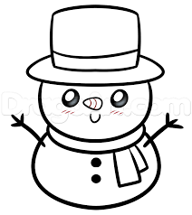 drawing a kawaii frosty the snowman step by step christmas stuff