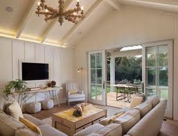 Cathedral Ceilings In Living Room Beige And Yellow Living Rooms Modern Living Room Modern