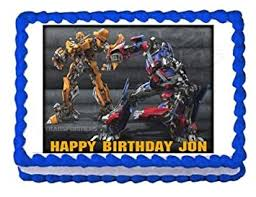 transformers cake toppers transformers bumblebee optimus prime edible cake image