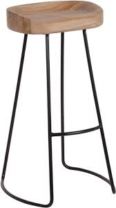 tall stool in oak and iron bar stools