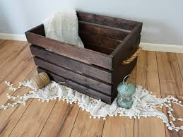 rustic wood crate with handles extra large 24x18x11 75 by