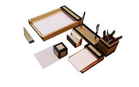 office desk organizer set slk wood products all wood and leather office desk organizer set
