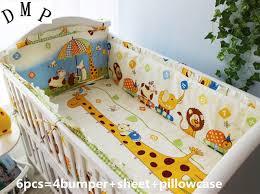 Nursery Cot Bedding Sets Promotion 6pcs Crib Baby Bedding Set Animal Baby Nursery Cot