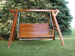 wood frame swing wooden family outdoor porch swing