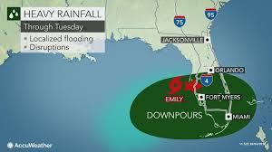 Southern Florida Map by Tropical Storm Emily To Spark Localized Flooding Disruptions