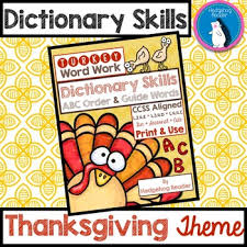 dictionary skills thanksgiving abc order and guide words ccss
