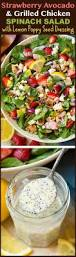 strawberry avocado spinach salad with grilled chicken and lemon
