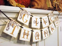 thanksgiving decoration give thanks fall banner hostess gift on