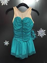 new del arbour d77b jade mesh lycra ice figure skating dress size