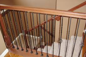 Banister Decor Decorations Wrought Iron Spindles With Varnished Wood Handrail