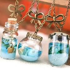 glass bottle necklace pendant images Vintage mermaid tears shells star vial necklace shellhard blue sea jpg