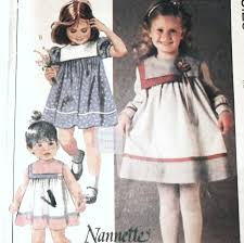 toddler girls baby doll dress 80s pattern yoke collar options