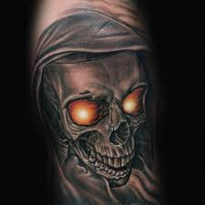3d style looking forearm of demonic skull