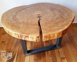 live edge round table round coffee table live edge industrial tree slice log rustic