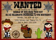 cowboy and cowgirl joint sibling kids birthday party invitations
