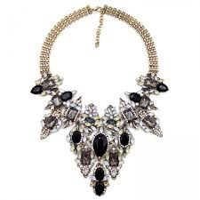 bib necklace black images Topaz silk laurel stone cluster statement bib necklace jpg