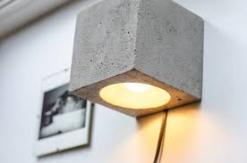 Plug In Wall Lighting Wall Lamp Dimmer Concrete Q142 Handmade Plug In Wall Lamp