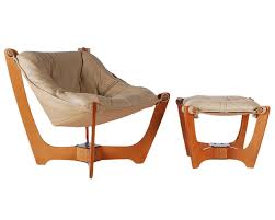 scandinavian leather sling lounge chair and ottoman for sale at
