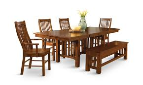 laurelhurst solid oak mission dining table and 4 side chairs by