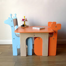 piggl handmade wooden children u0027s table and chairs tucked under