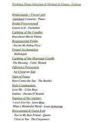 wedding ceremony layout wedding processional songs recessional church civill