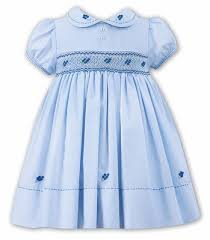 louise baby toddler blue smocked dress with collar
