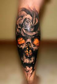 collection of 25 color flowers and skull 3d tattoos
