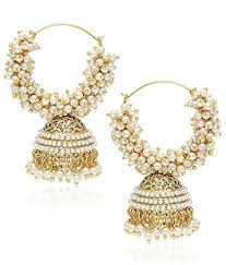 earrings images youbella gold pearl hoop earrings for women at glowroad 4hdd6h