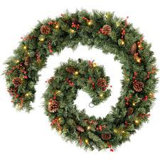 werchristmas thick pre lit garland decoration with 80