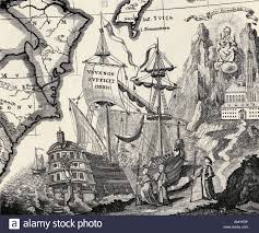 Ancient Map Old Engraving Of A Ship For An Ancient Map Made By A Benedictine