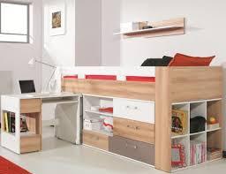 bureau haut lit mi haut avec bureau et commode puzzle lit surélevé enfant