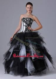 black and white asymmetrical hem embroidery sweet 16 dress 182 99