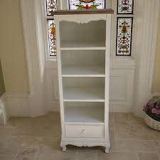 Bookcase Narrow by Narrow White Bookshelf Bookcase Shabby Chic Storage Candle And Blue