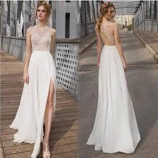 wedding dress open back beautiful white side split prom dress open back charming