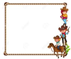 frame of cowboy theme on white background royalty free cliparts