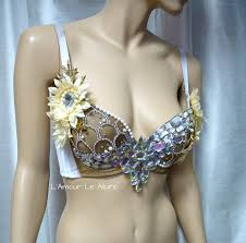 gold pearl mermaid bra cosplay dance costume rave bra rave wear