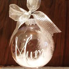 memorial ornaments memorial bauble personalised bauble feather bauble in