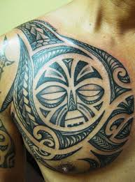 hawaiian tribal tattoo on chest for men in 2017 real photo