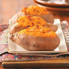 sweet potato thanksgiving recipe twice baked sweet potatoes with bacon recipe taste of home
