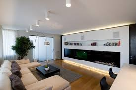 apartment modern decoration using white leather sofa and black