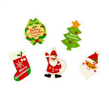 christmas gift tags in 5 assorted designs with red strings for