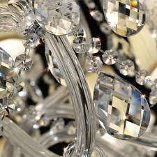 Chandelier Strands Sparkling Clear K9 Crystal Strands And Droplets Soft White Fabric