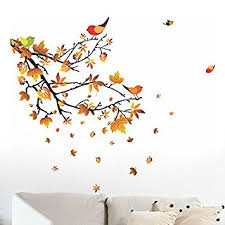 Buy Decals Design Autumn Leaves And Birds Wall Sticker PVC - Wall design decals