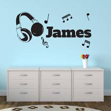 Customized Headphone Music Personalized Name Wall Stickers Art